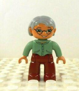 Lego Duplo Figure Grandma olive/maroon