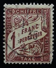 France 1 Franc Brown Scott J26 Numeral, Stamp Used