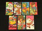 Vintage 1960s Kiddies Christmas Cards Single-Sided Valentine Colorful Unused