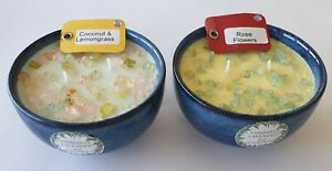 2 SOY CANDLES. HOME MADE BEAUTIFUL SCENTS AND COLORS IN DECORATIVE  BOWLS.