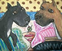 Cane Corso drinking a Martini Original Painting 9x12 Vintage Style Art by Artist