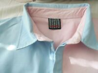 "HONDA   MEN'S RUGBY SHIRT QUARTERED PINK AND BLUE CHEST 50""  SIZE XL"