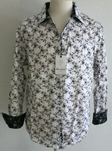 Robert Graham NEWELL Black and White Floral Print Classic Fit Shirt - Large