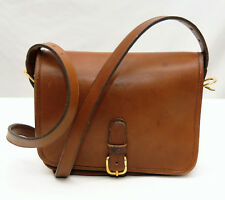 COACH VINTAGE~1970'S TAN BROWN LEATHER CROSSBODY SHOULDER HANDBAG~MADE IN NYC