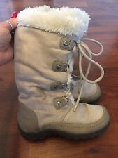 Girls Size 13.5 Nine West Tall Lace Up Zip Yeti Boots Beige Very Good