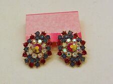 Betsey Johnson Multi-Colored Stone Cluster Drop Post Earrings NWT $45  Authentic