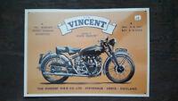 VINCENT-Serie C moto Placa metalica litografiada publicidad 39 x 28 cm. replica