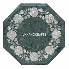 """12"""" x 12"""" Green Marble Table Top Mother Of Pearl  Floral Art Work Home Decor"""