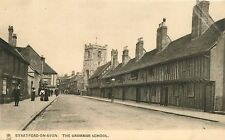 STRATFORD-ON-AVON UK THE GRAMMAR SCHOOL TUCK TOWN & CITY SERIES POSTCARD c1920s