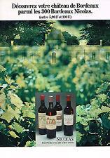 PUBLICITE ADVERTISING  1971   NICOLAS  vin  de Bordeaux