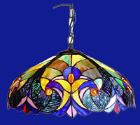 """18"""" Hanging Ceiling Pendant Light Fixture Victorian Tiffany Style Stained Glass"""