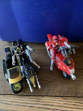 2 mighty morphin power rangers thunder bike - action figures and weapons!