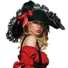 Women's Swashbuckler Pirate Hat Costume Accessory Black/Red Leg Avenue 2098