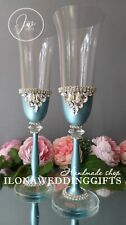 Swarovski Crystal Personalized Silver Wedding Champagne Toast Glass Flutes Teal