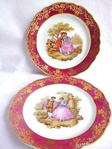 Pair of Limoges France,  Porcelain Romance Scene Plate's. (D) 19cm