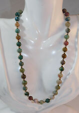 "16"" Gold tone Necklace 2d 100 Multicolor Green Chalcedony Jasper Bead Strand"