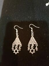 PIERCED RARE DESIGNER  SILVER ETCHED DANGLE  STAR OF DAVID  EARRINGS