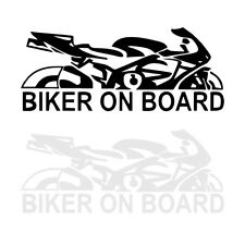 Waterproof 6.69in Biker On Board Reflective Car Sticker Top Motorcycle Decal 1pc