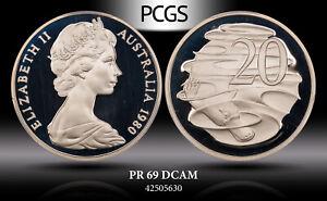 1980 AUSTRALIA 20 CENTS PCGS PR 69 DCAM  PROOF GEM COIN