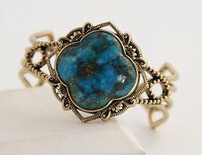 ESTATE Jewelry SIGNED BARSE BRONZE & SPIDER WEB TURQUOISE CUFF BRACELET 47 gr