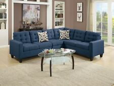 Navy Polyfiber Sectional Sofa Set Loveseat Wedge Armless Chair Plush Cushioned