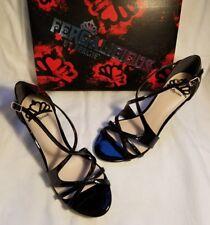 Fergalicious Fergie Maya Black Women F Leather High Heel Strapy Pump Shoe 10 $55