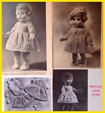 8 Piece Top-to-Toe Trousseau Wardrobe Doll's Clothes Vintage Knitting PATTERN X