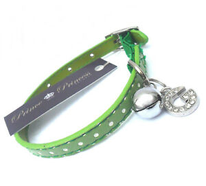 Personalised Letter SAFETY CAT COLLARS Polka Dot A-Z Charm Green New