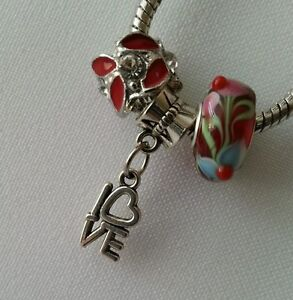 Murano Glass Lampwork Silver Red Love Cz Charm Fits European Bracelet Necklace