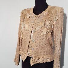 Elegant Cardigan Knit Satin Linen Summer Jacket & Top Beige Natural Petite/Small