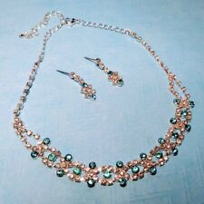Statement Silver Tone Blue Clear Austrian Crystal Choker Necklace Earring Set