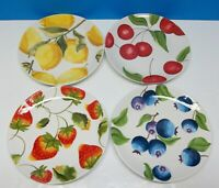 """2007 Harry and David 9 1/8"""" Luncheon Plates Fruits Design Set of 4 ~ Excellent!"""