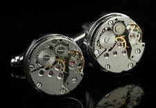 Gift Bag + Gear Watch Cufflinks Cogs & Gears Moving Parts Hgh Quality Cuff Links