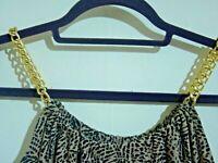 TOPSHOP SIZE 12 BLACK & BROWN LEOPARD ANIMAL PRINT MAXI DRESS CHAIN STRAPS