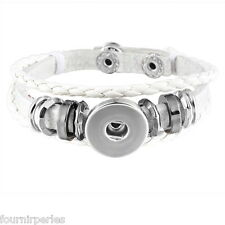 1 Bracelet Breloque Multilayer Cuir PU Blanc pr Bouton Pression DIY 21cm