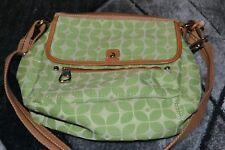 Fossil Shoulder Bag, Adjustable Strap Green Geo Print Brown trim Lots of Pockets