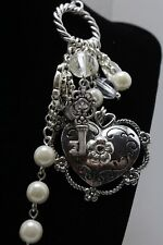"NEW 20"" necklace &earrings set Icon Collection silver color heart/key faux pearl"