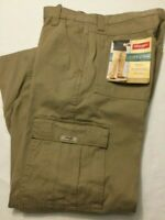 NWT MEN'S Wrangler Cargo Relaxed Fit KHAKI KHAKIS 70LEWGR TECH 7 Pocket Pants