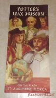 Vintage Potter's Wax Museum Florida Souvenir Paper Brochure / Advertising N2