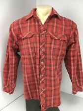 INDEPENDENT TRUCK COMPANY Red Plaid Button Shirt Sz L Skater VTG 90s Heavy