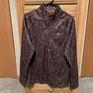 Under Armour Mossy Oak Bottomland Camo 1/4 Zip Hunting Thermal Jacket - Size M