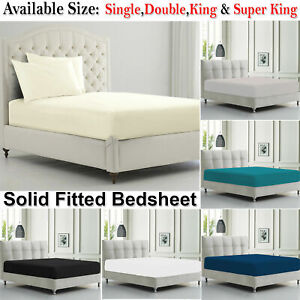 Deep Fitted Sheet 100% Poly Cotton Single Double Super King Mattress Bed Sheets