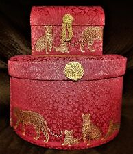 Pair Beautiful Marcela Pinkish Red & Gold Leopard Hat & Jewelry Box
