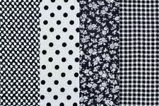 (3,30€/m) Stoffpäckchen 4 St. à 55x45 cm Stoff Stoffpaket schwarz 100%Baumwolle