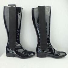 Ralph Lauren Patent Leather Boots Uk 6.5 Eur 39.5 Womens Elasticated Black Boots