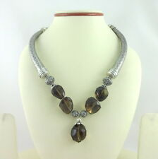 NECKLACE NATURAL SMOKY QUARTZ GEMSTONE FACETED BEADED BEAUTIFUL HANDMADE 90 GRAM