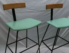 More details for fabulous pair of mid century program bar stools - frank guille kandya 1950s...