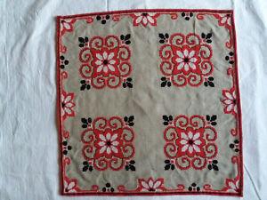 Linen Vintage Handmade Embroidered Table Runner, Traditional BG Style, 48/48 cm