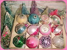 Beautiful Antique Vtg Feather Tree Poland Indents & Glitter Glass Xmas Ornaments