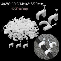 100pcs White Cable Clips 4mm-20mm with Fixing Steel Nails Wire Mounting Clamp*-